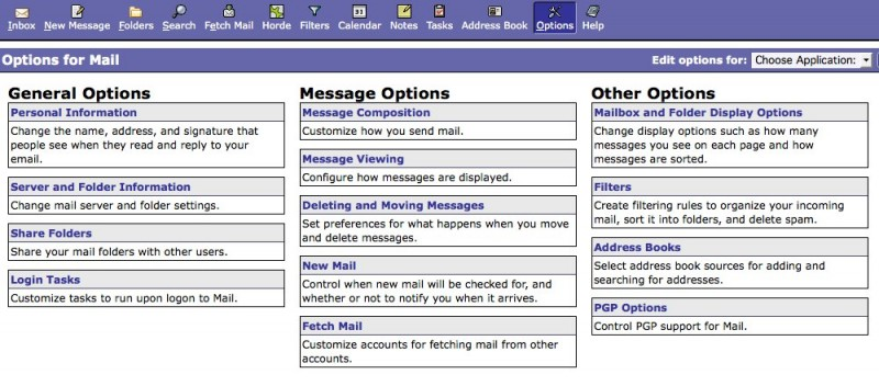 Webmail-Options