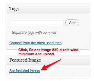 The Featured Image link is below the Tags area on the right of your Post page.